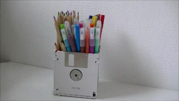DIY Floppy Disk Pen Holder2