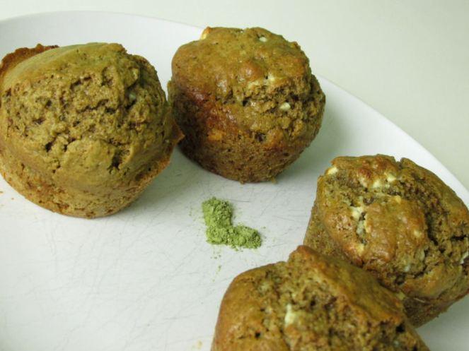 Matcha green tea white chocolate chips muffins