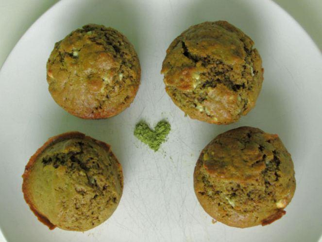 Matcha green tea white chocolate chips muffins1
