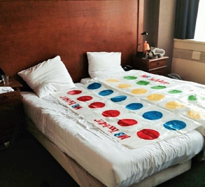 Twister on bed