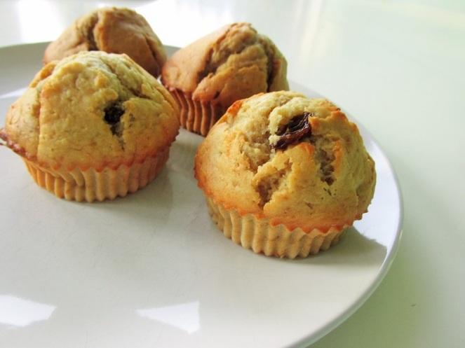 Bananen rozijnen muffins (1)