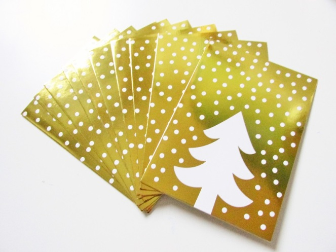 Gold Christmas cards tree