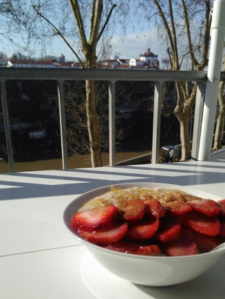 Oatmeal strawberries honey cinnamon bowl with view