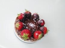 Chocolate coconut pie with strawberry